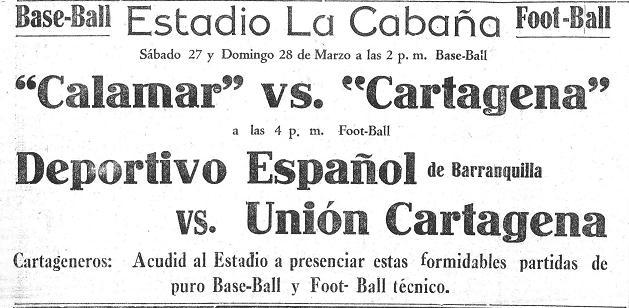 Cartel que anunciaba eventos de béisbol y fútbol en 1937.