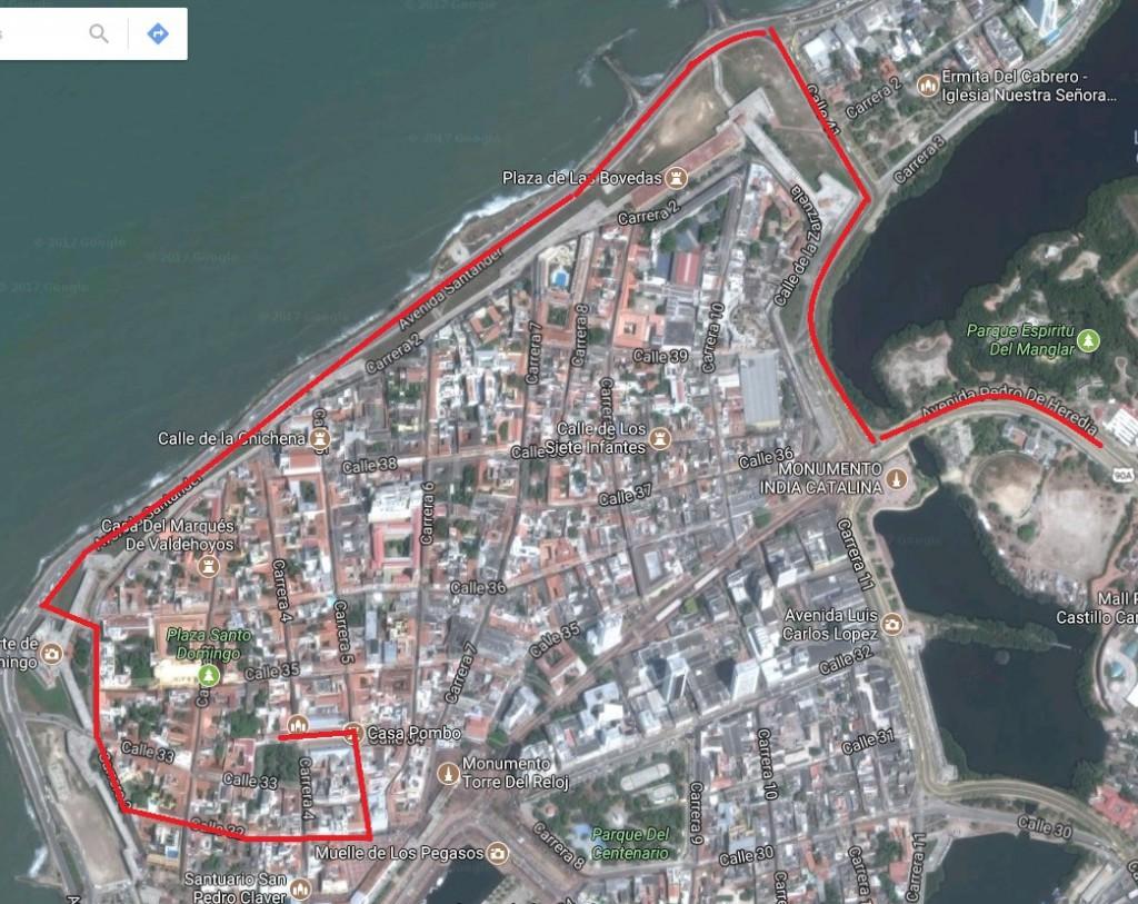 Recorrido del Fuego Bolivariano en Cartagena