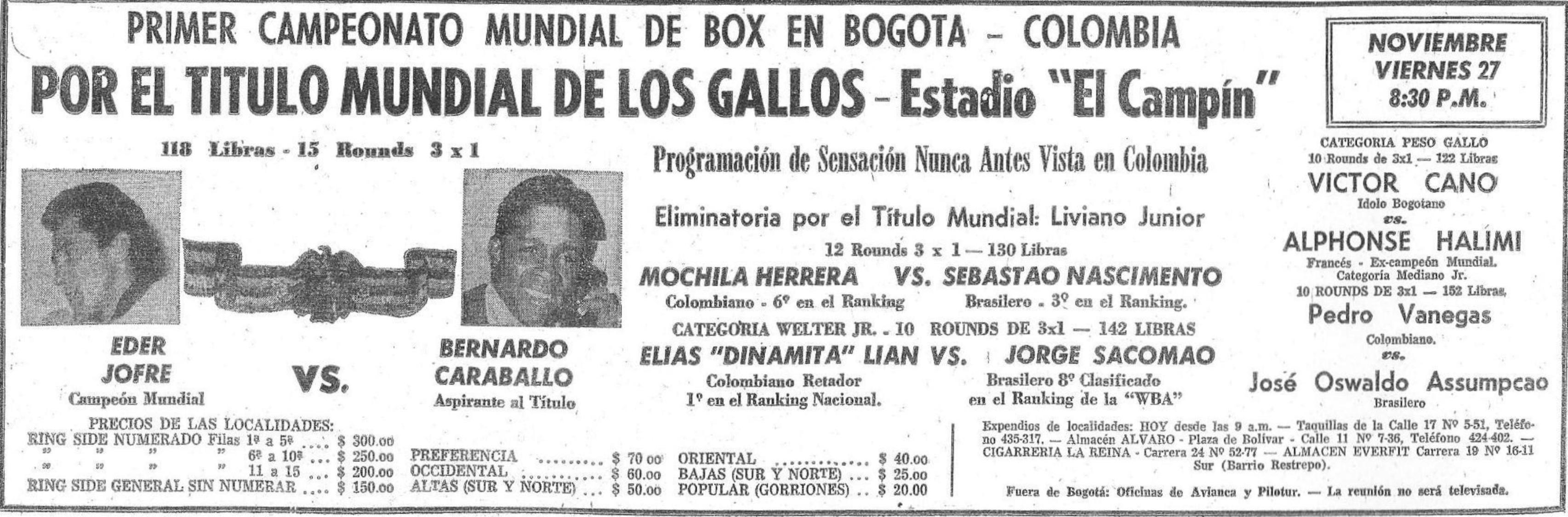 Cartelera promocional de la velada Caraballo-Jofre.