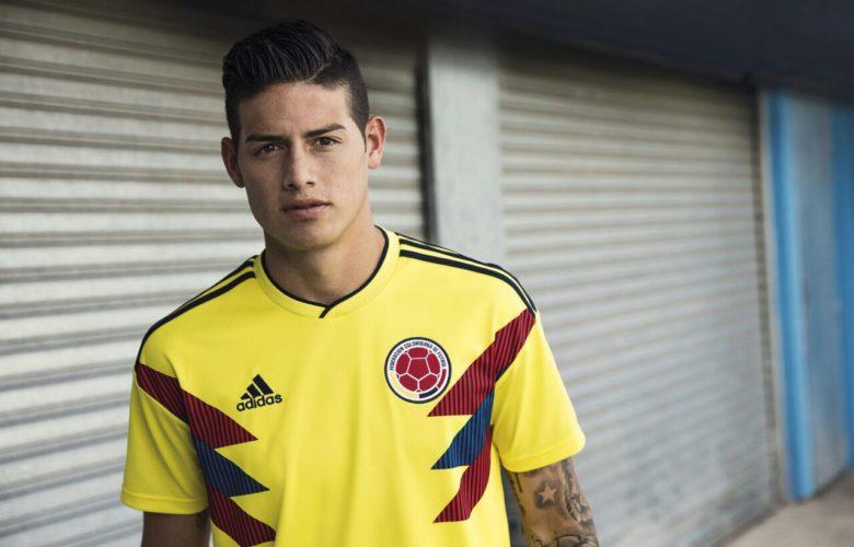 La nueva camiseta de Colombia modelada por James Rodríguez. Foto: Adidas.